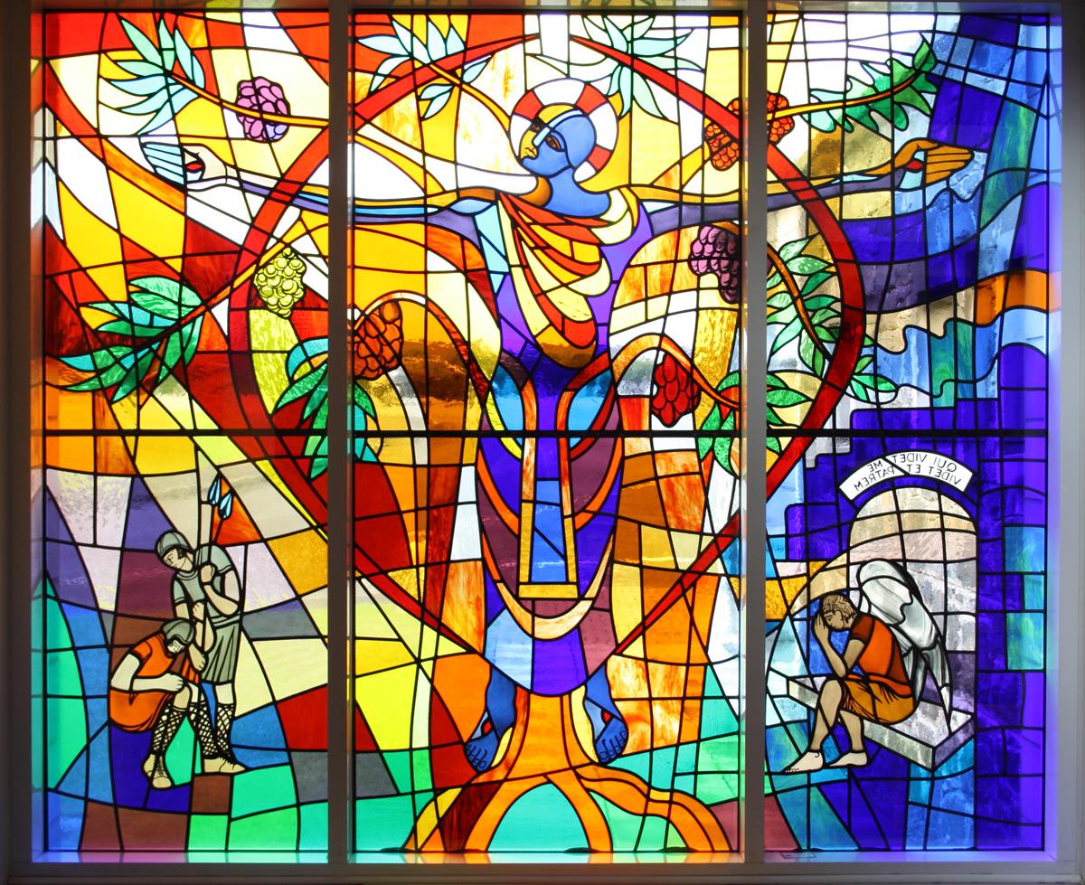 glas-in-lood, raamfolie, voorbeeld, kerk, voorzetraam