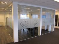 glasfolie, logo, kantoor, bedrijf